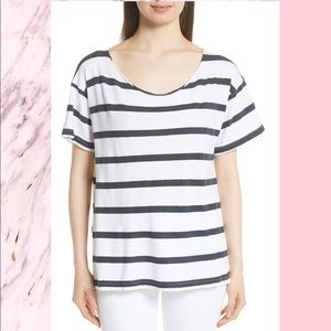 NWT THE GREAT Stripe Cut Neck Tee